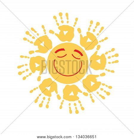 Joyful summer yellow sun with a rays