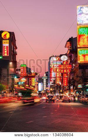 Neon Lights Of Chinatown, Bangkok, Thailand