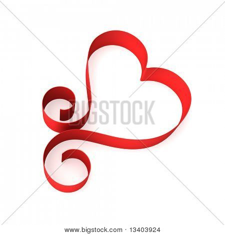 Valentine heart from red ribbon