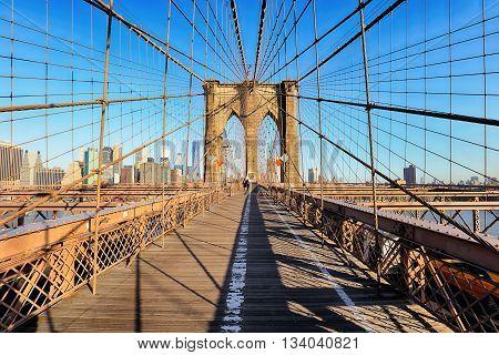 Brooklyn Bridge New York City nobody at day.