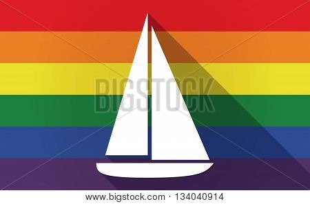 Long Shadow Gay Pride Flag With A Ship
