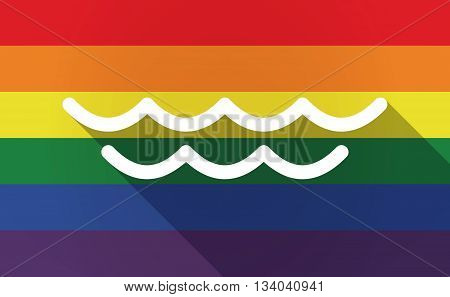 Long Shadow Gay Pride Flag With A Water Sign