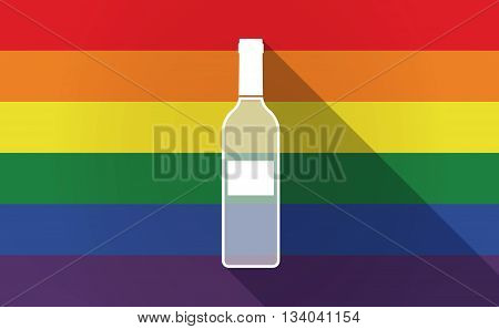 Long Shadow Gay Pride Flag With A Bottle Of Wine