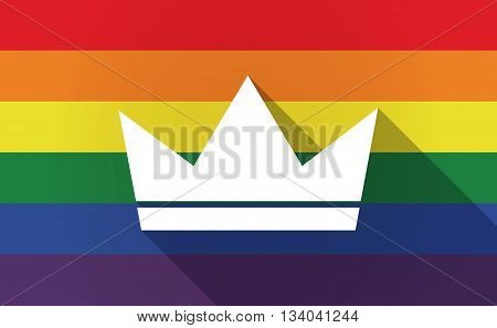 Long Shadow Gay Pride Flag With A Crown