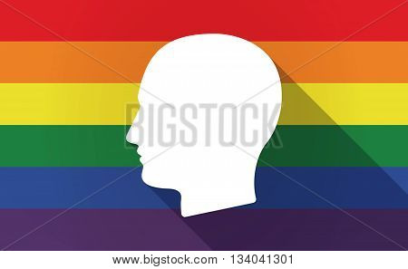 Long Shadow Gay Pride Flag With A Male Head