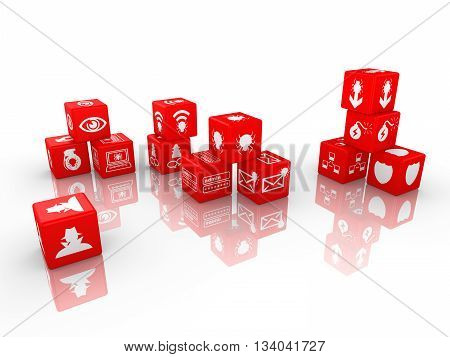 Red dice with information security threat icons isolated on white 3D illustration cybersecurity concept