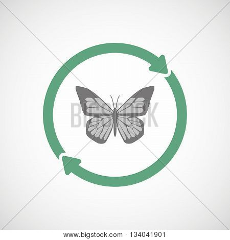 Reuse Line Art Sign With A Butterfly