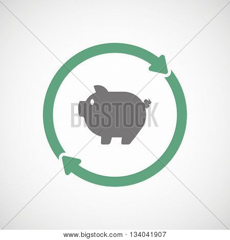 Reuse Line Art Sign With A Pig
