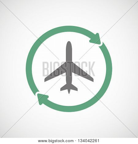 Reuse Line Art Sign With A Plane