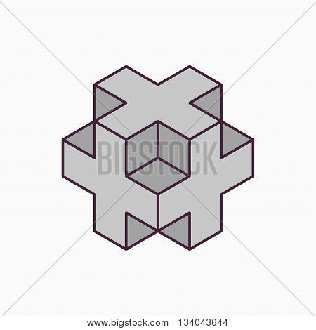 Vector 3D cube plus design on white background