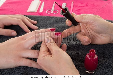 Woman Hands Putting A Varnish On Nails, Manucurie