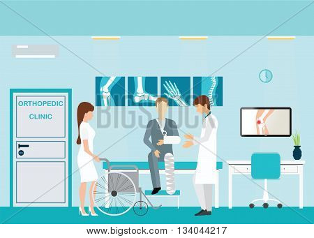 Doctor and patient at Orthopedic clinics and diagnostic centers with the skeletal spinal bone structure of Human Spine and hospital bed medical health care anatomy vector illustration.