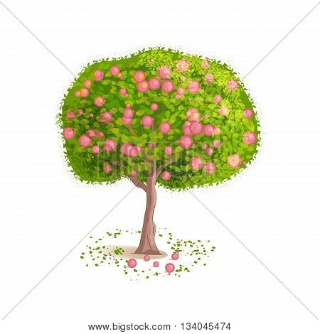 Isolated tree on a white background. Deciduous tree with green leaves and red fruits. Fallen leaves and fruits around the tree. Cartoon style. Vector illustration.