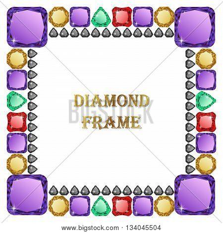 Diamond square frame. Vector illustration jewerly. Abstract diamond vector. Diamond border