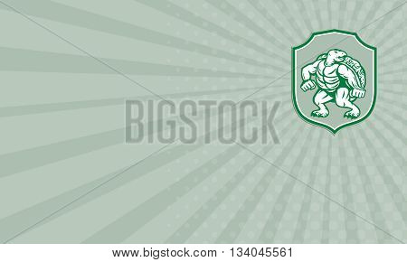 Business card showing illustration of a green turtle in fighting stance looking to the side set inside shield crest on isolated background done in retro style.