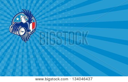 Business card showing illustration of an american bald eagle carrying beer keg viewed from the side set inside circle with usa american flag stars and stripes in the background done in retro style.