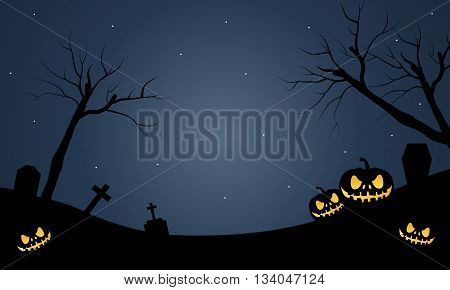Halloween scary pumkins at the night vector illustration