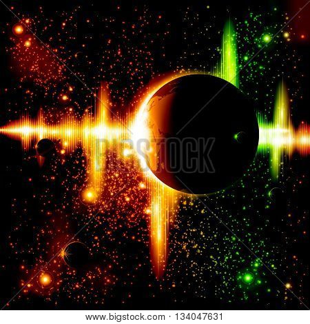 A retro outer space background with a planet, sky and stars. Layered.