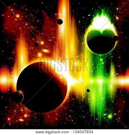A retro outer space background with planets, sky and stars. Layered