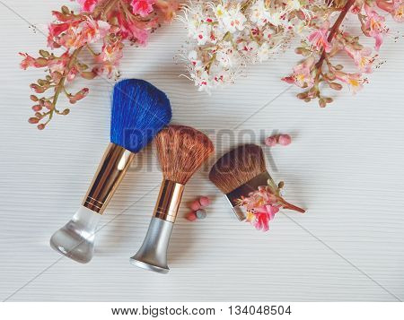 There White and Pink  Branches of Chestnut Tree,Two Make Up Brown and One Blue Brushes are on White Table.Top View,Toned