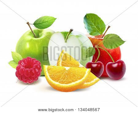 Apples and cirtus, cherry, raspberry isolated on white background with clipping path. Red apple with cherry. Cherry with red apple and green leaves. Citrus fruits.