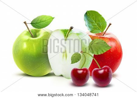 Red apple and cherry isolated on white background with clipping path. Red apple with cherry. Cherry with red apple and green leaves. Isolater cherry. Apple isolated.