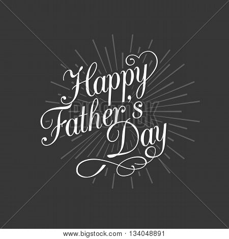 Happy father's day calligraphic design vector with swoosh lines design for father's day,