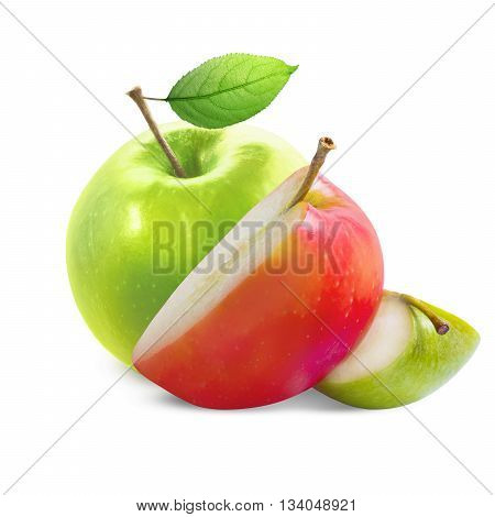 Green apple with green and red slices isolated on white background with clipping path. Green apple with leaf. Green and red apple slices isolated on white.