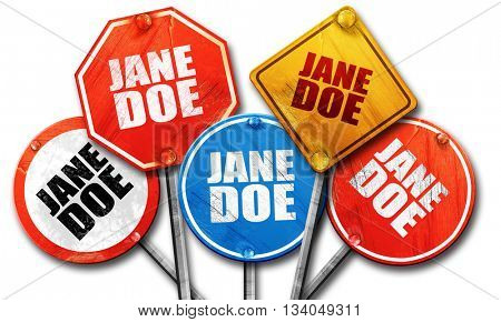 jane doe, 3D rendering, rough street sign collection