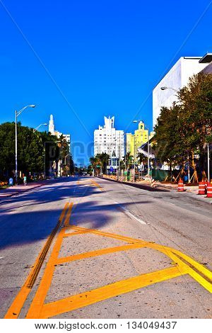 Old Typical Buildings In Art Deco Style Downtown South Miami With Street
