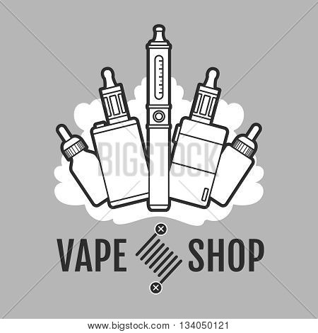 Vape label. Electronic cigarette for vape or e-cigarette design element