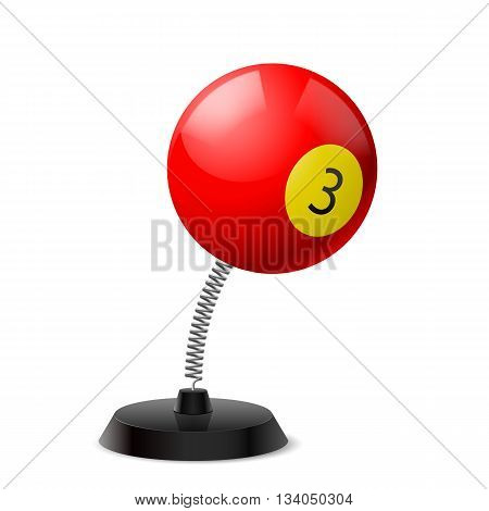 Table souvenir in form of three res billiard ball on spring