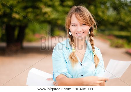 Beautiful Young Student Girl With Letter
