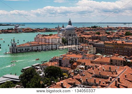 Venice Skyline, Red Roof, Clouds And Aerial View Of Santa Maria Della Salute Church, Italy
