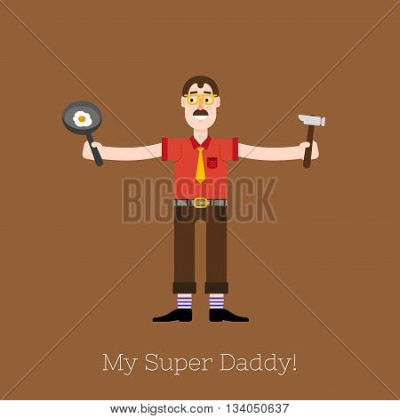 Busy multitasking man, father, dad, daddy, romantic husband businessman worker Flat vector