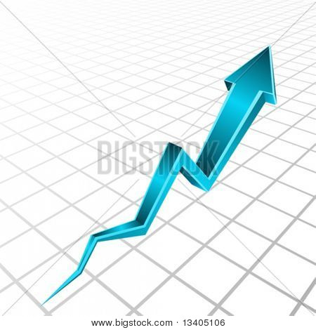 Vector 3d blue arrow graph