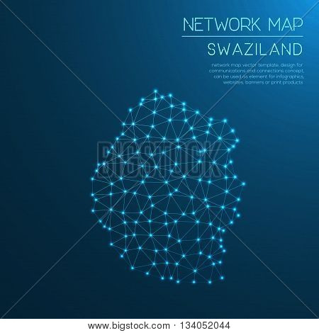 Swaziland Network Map. Abstract Polygonal Map Design. Internet Connections Vector Illustration.