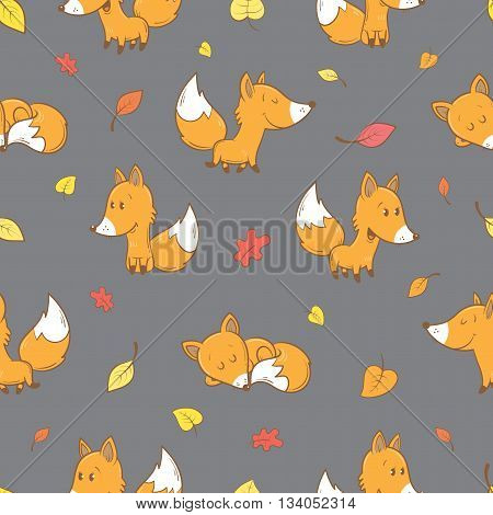 Seamless pattern with cute cartoon foxes and falling leaves on  gray background. Autumn season. Funny forest animals. Vector image. Children's illustration.