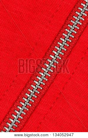 Zipper of a red cotton sweater