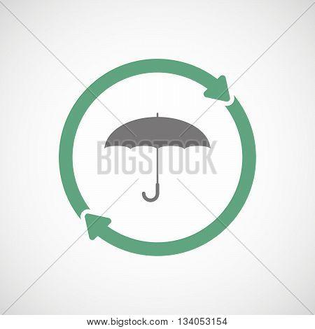 Reuse Line Art Sign With An Umbrella