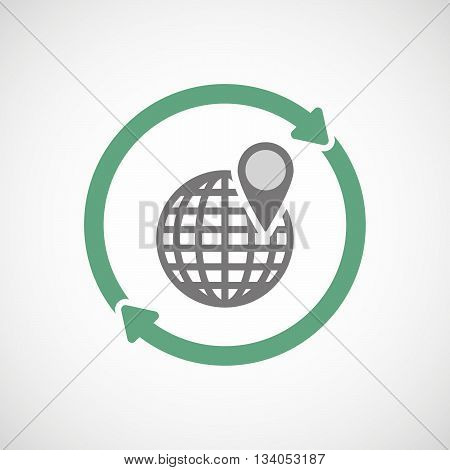 Reuse Line Art Sign With A World Globe