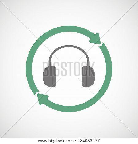 Reuse Line Art Sign With A Earphones