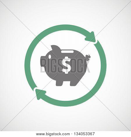 Reuse Line Art Sign With A Piggy Bank