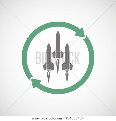 Reuse Line Art Sign With Missiles