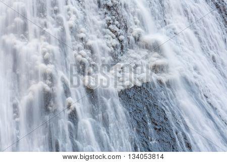 Snow at Fukuroda Falls Waterfall in Ibaraki Japan Winter