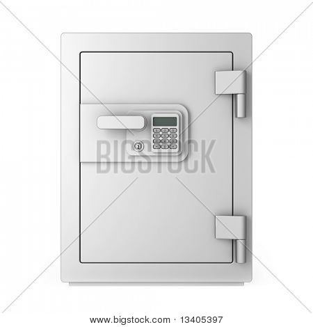Safe isolated on white with numeric keyboard