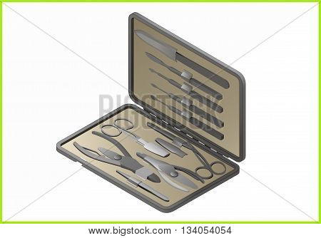 manicure set isometric flat vector 3d illustration. nail care icon.