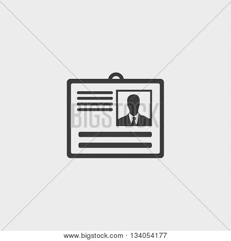 Identity card icon in a flat design in black color. Vector illustration eps10