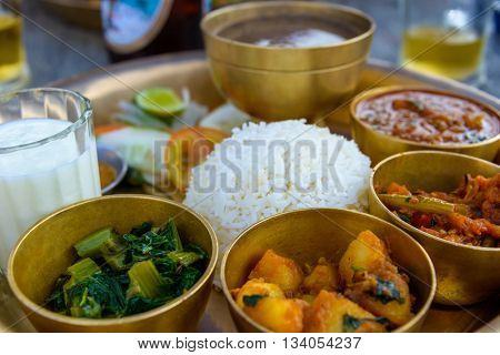 Traditional Nepalese thali in a restaurant