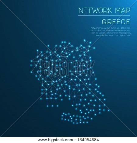 Greece Network Map. Abstract Polygonal Map Design. Internet Connections Vector Illustration.